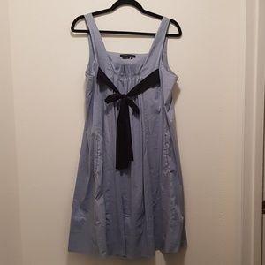 EUC BCBGMaxAzria Blue Dress with Black Tie Front